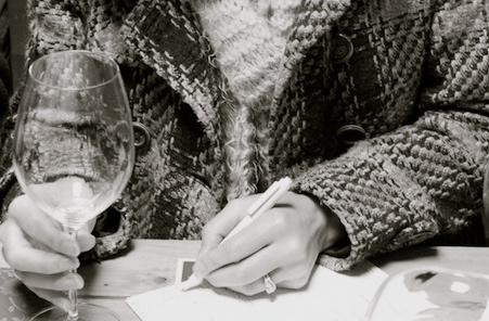 pen and paper and wine