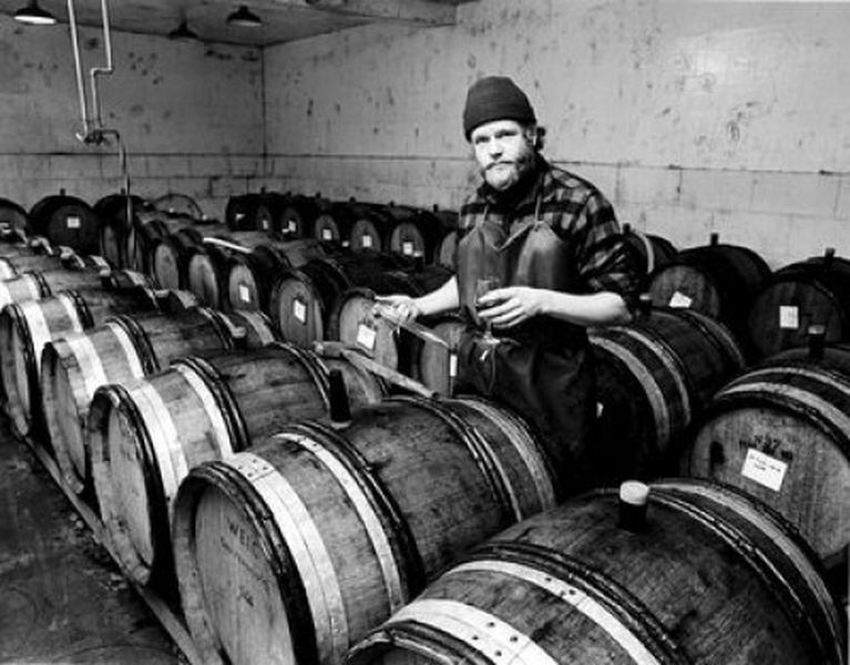 David Lett in his cellar c. 1970s. [Source: Linfield College]